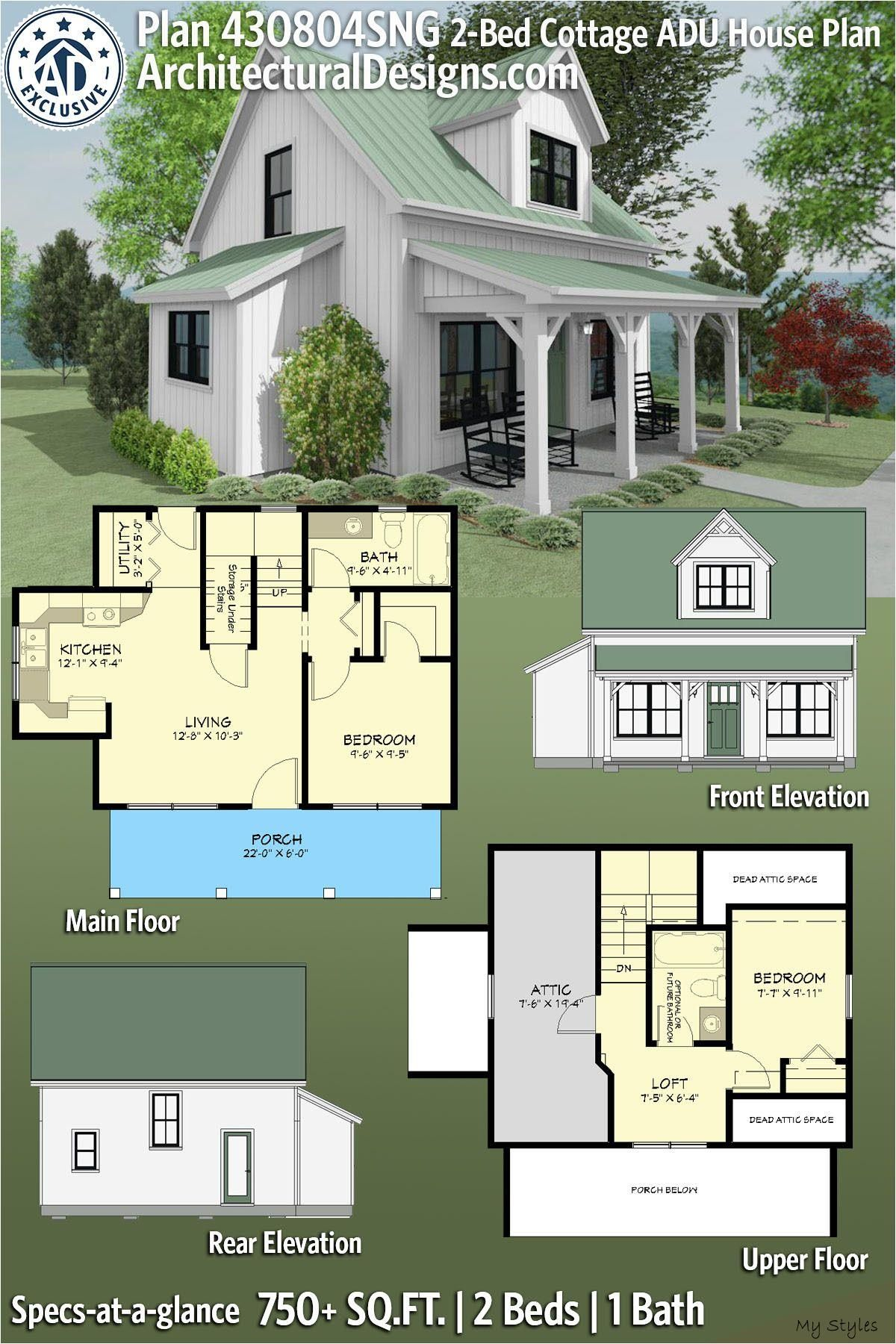 Jun 8 2020 Architectural Designs 2 Bed Cottage Adu House Plan 430804sng Gives You 750 Sqft Of Living In 2020 Sims House Plans Small Home Plan House Plans Farmhouse