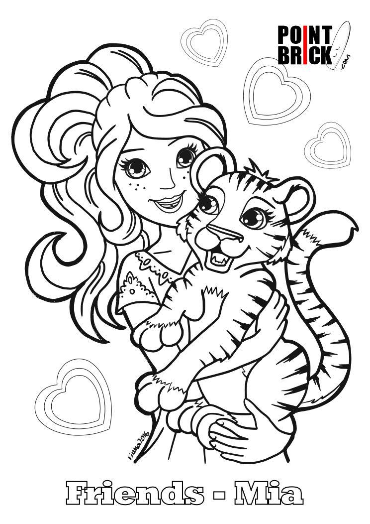 Disegni da Colorare LEGO Friends Mia e cucciolo di tigre