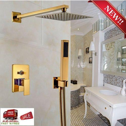 Gold Polished Rain Shower Set 2 Way Mixer Rainfall Head Arm Hose ...