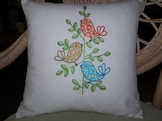 retro birds hand-embroidered cushion cover by Melys Hand-Embroidery, via Flickr