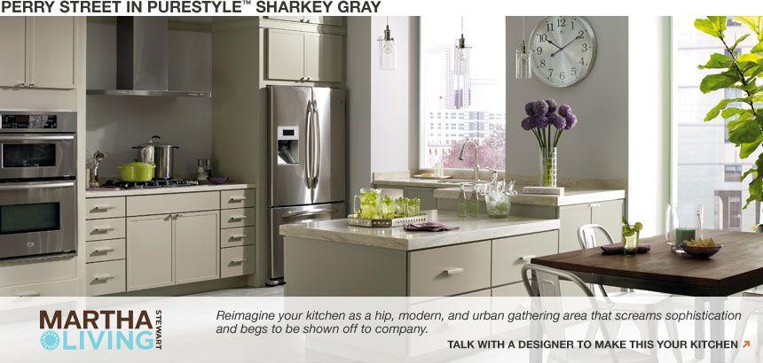 Best Home Depot Martha Stewart Perry Street Grey Kitchen 400 x 300