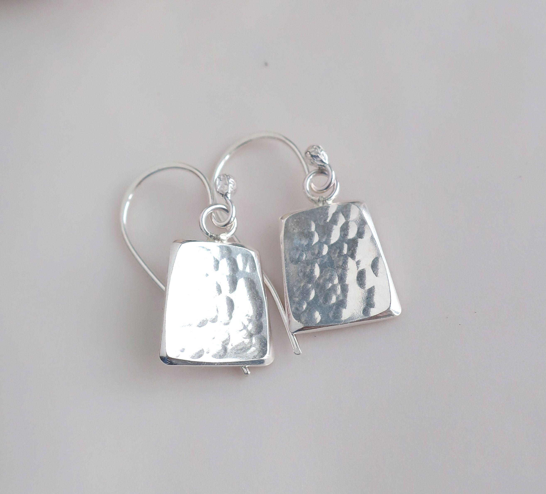 Code Sb.  7.7.17.  Hammered sterling silver handmade hook earrings.