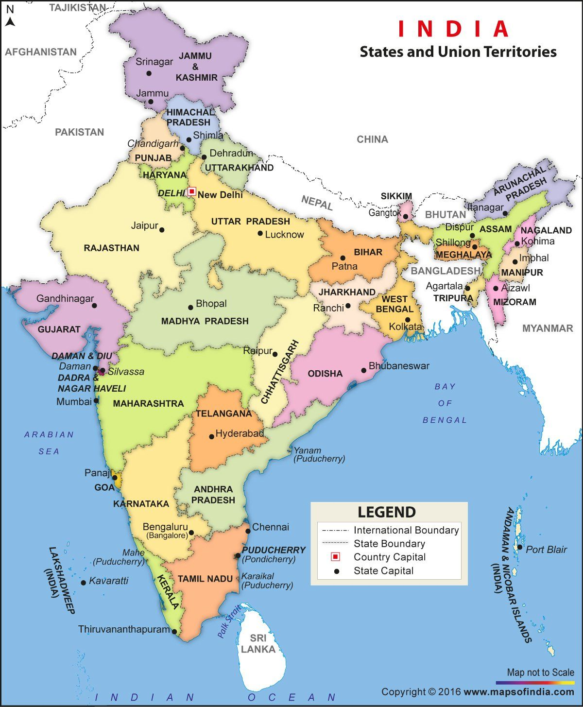 India Political Map Vinyl Print Amazon Maps of India Books
