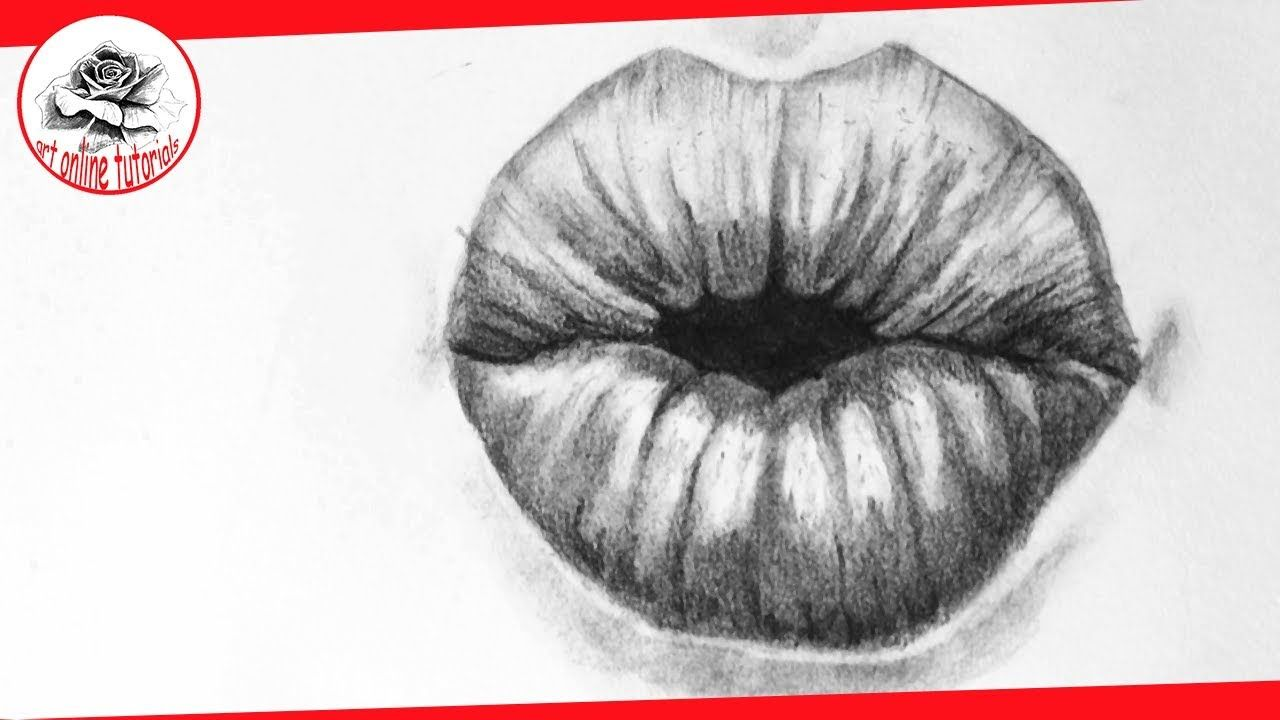 How To Draw Lips Kissing, Step By Step By Pencil