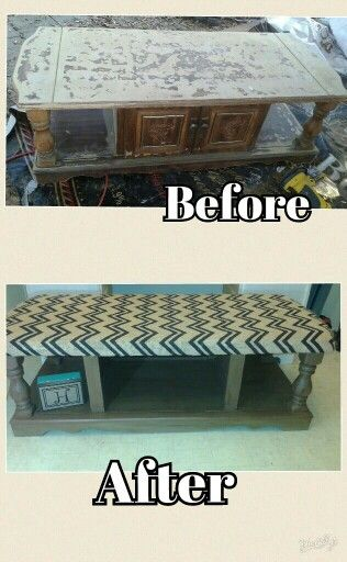 Upcycled vintage coffee table into entry way shoe storage bench
