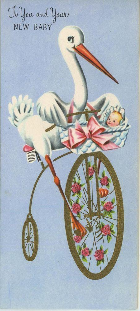 vintage stork bird riding tricycle bike new baby flower. Black Bedroom Furniture Sets. Home Design Ideas