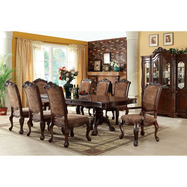 Furniture of America Eiko 9 piece Antique Cherry Dining Set with 15