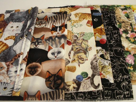 FABRIC REMNANTS  Multicolor Cats Crafting and by TomaCraftPlace