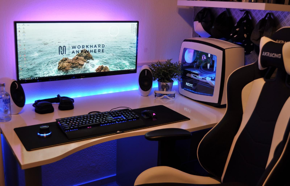 Desktop Gaming Pc White Google Search Room Setup Gaming Setup Gaming Room Setup