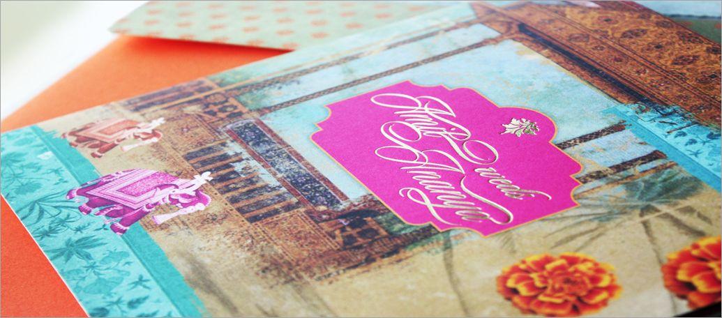 Fun goa themed destination wedding invitation