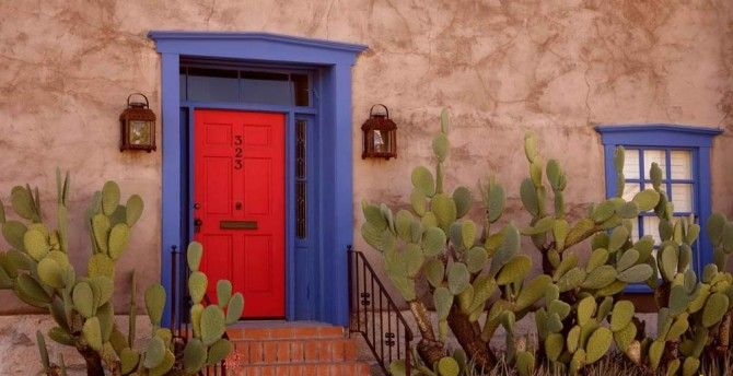 High Quality Red Door, Blue Frame, Brown Stucco On A Tucson Home