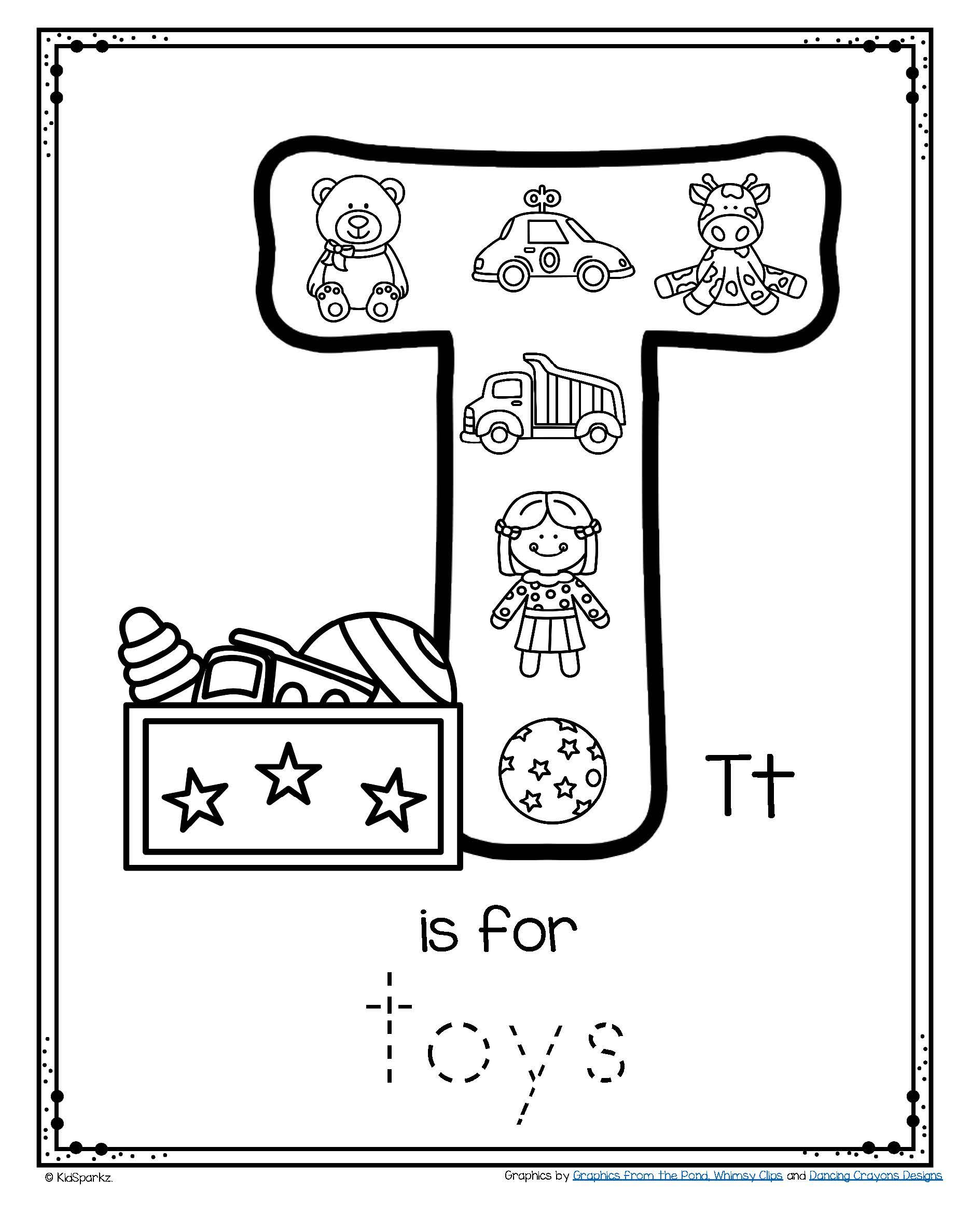 Letter T Is For Toys Trace And Color Printable Free In 2020 Letter T Alphabet Preschool Homework Worksheets [ 2376 x 1870 Pixel ]