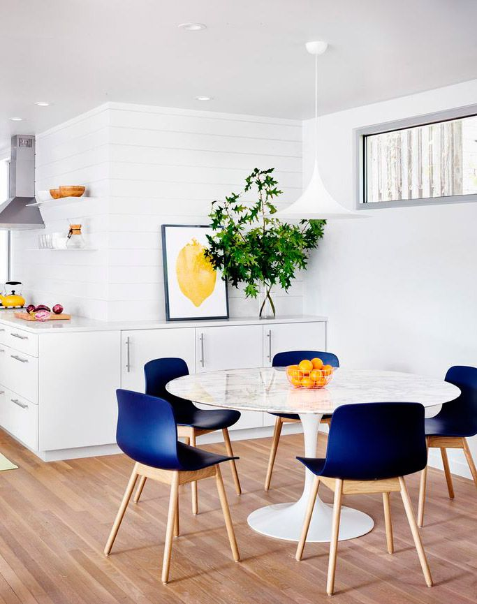 CHAIRS IDEAS White kitchen with indigo chairs