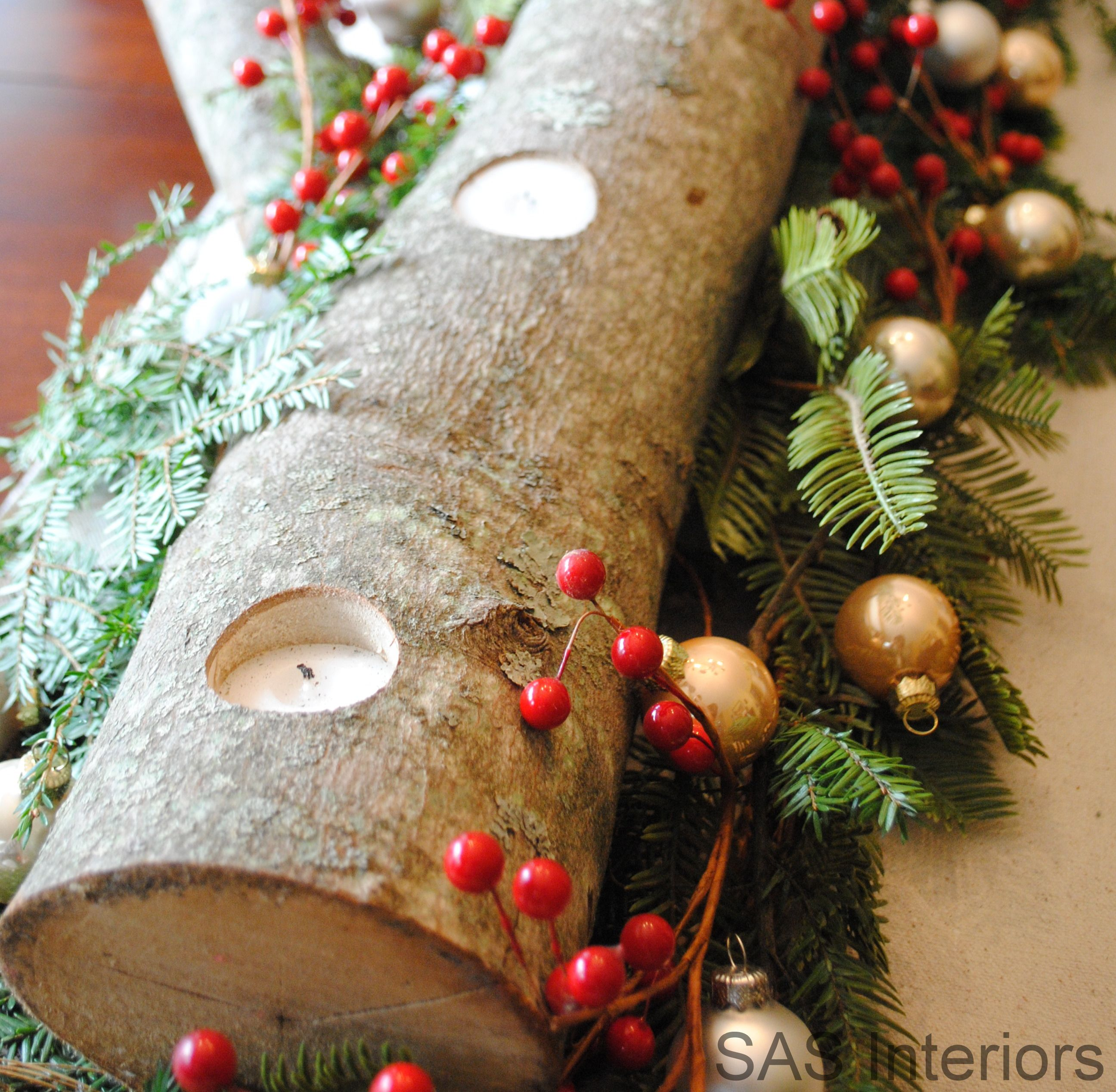 Holiday Log Centerpiece This would be cool as an advent wreath