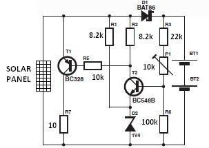 A simple solar charger circuit can be constructed using