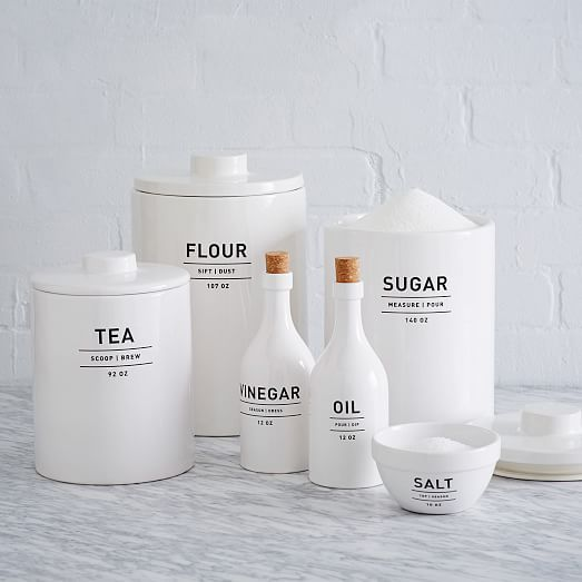 Utility Kitchen Canisters White