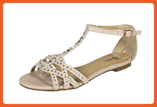 fe27c1117bba Paprika Women s Timber Strappy Studding T-Strap Peep Toe Flat Sandal ...
