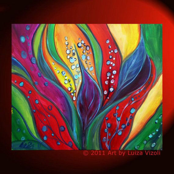 Original Modern Painting TROPICAL FLOWERS Colorful Abstract Leaves Fine Art by Luiza Vizoli