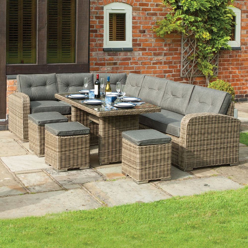 9 Seater Outdoor Dining Set Natural Grey Rattan Corner Sofa Garden Furniture Rattan Corner Dining Set Corner Dining Set Used Outdoor Furniture