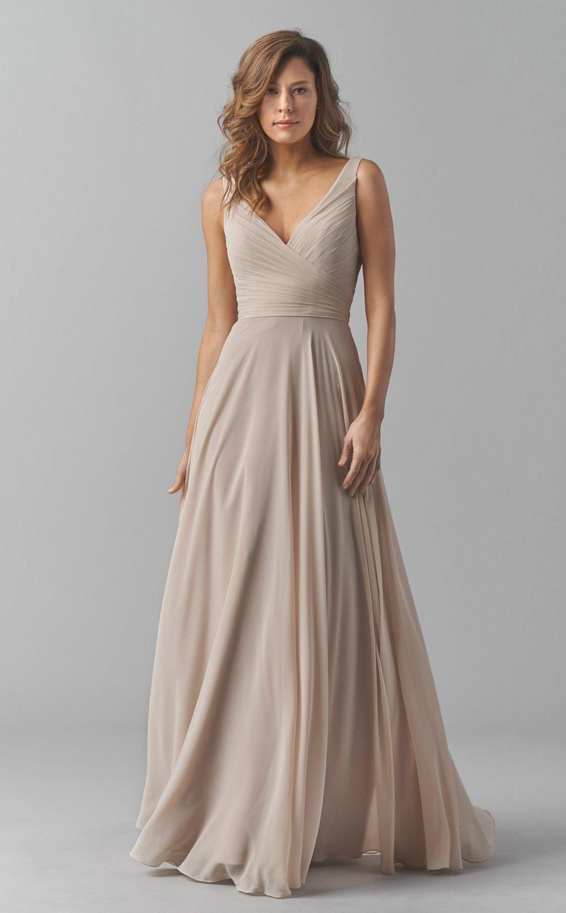 Chiffon Long Beige V Neck Bridesmaid Dress BDCA ball gowns