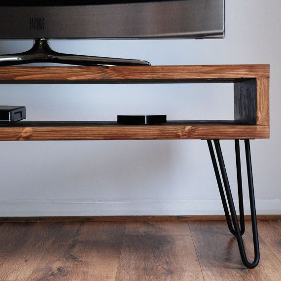 Handmade Solid Wood Box TV Stand with Steel Hairpin Legs – Dark Wood