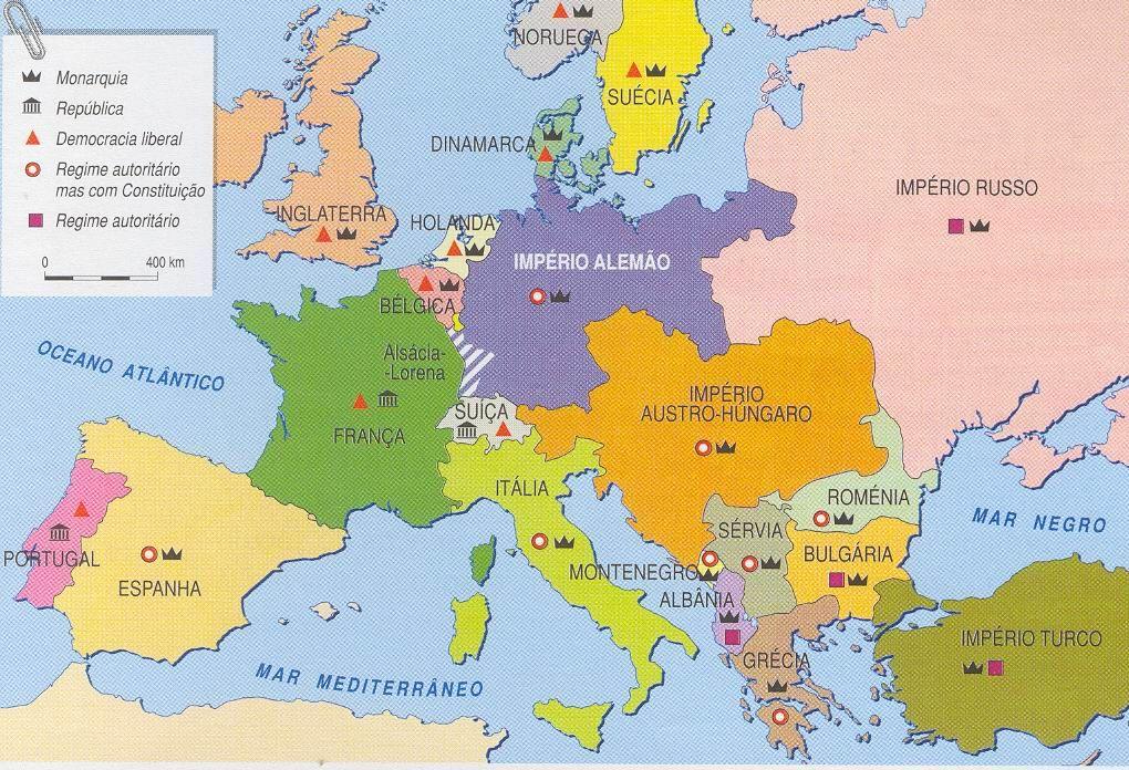 Mapa poltico da Europa em 1914 antes da Primeira Guerra Mundial