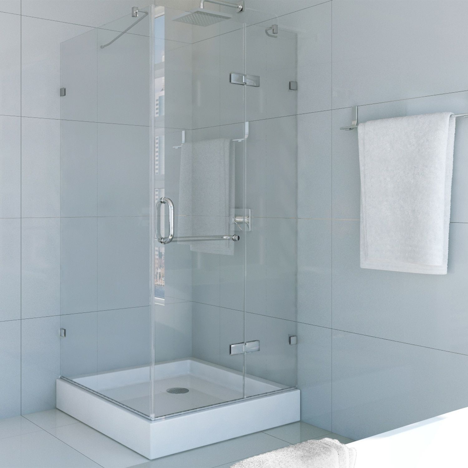 Vigo Frameless Square Clear Shower Enclosure and Base (36 x 36 ...