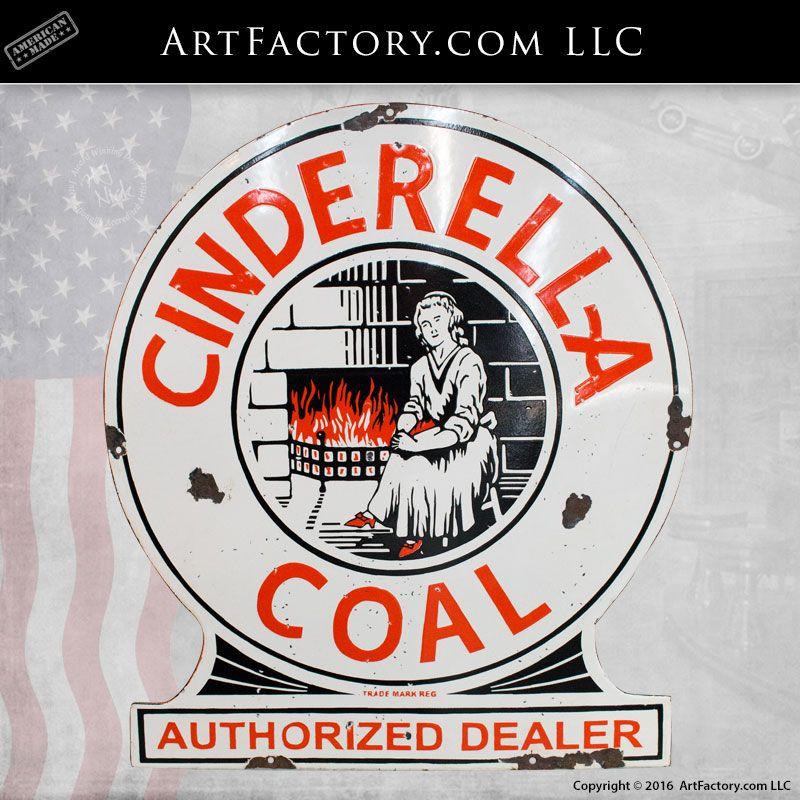 Vintage Cinderella Coal Porcelain Sign: Original 1930's