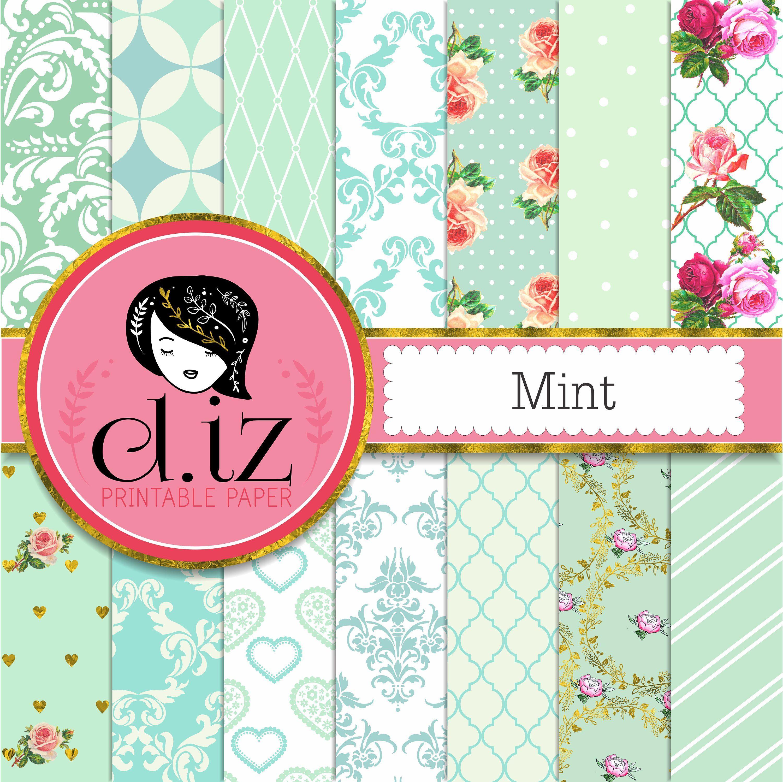 Mint digital paper mint green digital paper 14 mint backgrounds