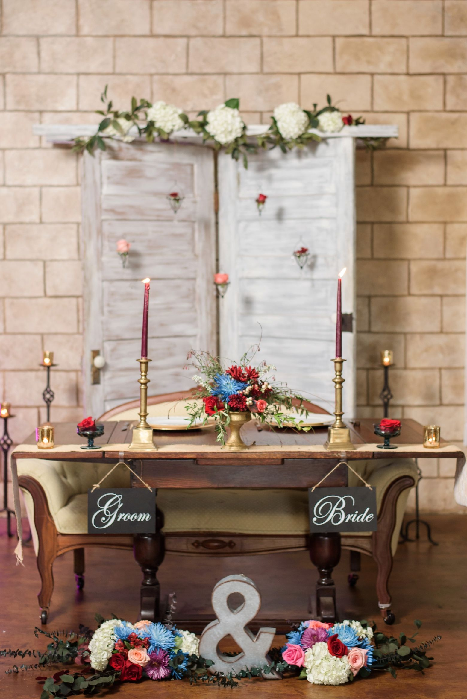 Wedding decorations backdrop  Barrington hill shabby chic Marsala wedding with antique door
