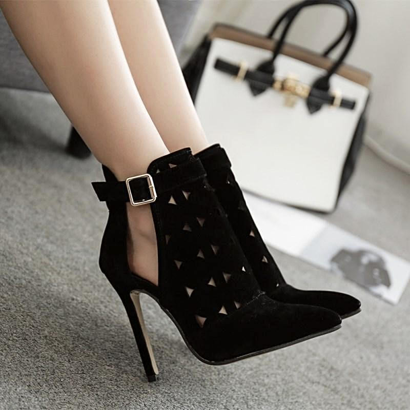 7224765c54a6 High Heel Pointed Toe Ankle Boots Summer Shoes - Comfortable Shoes + Sandals