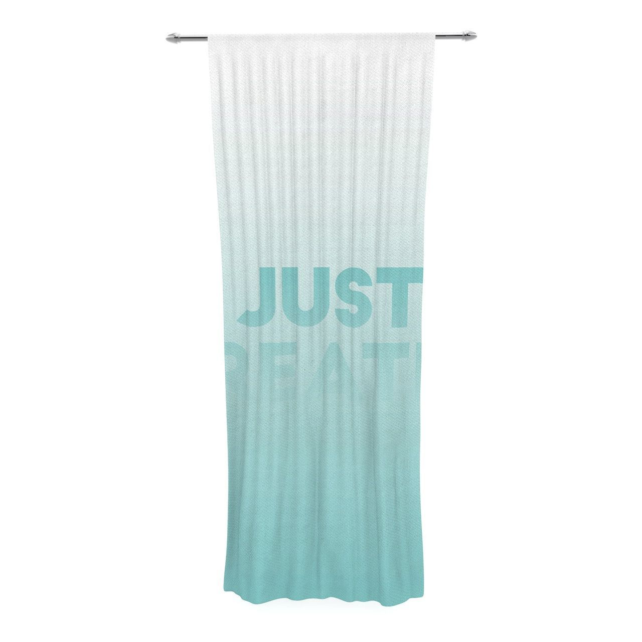 "KESS Original ""Just Breathe"" Blue Teal Decorative Sheer Curtain"