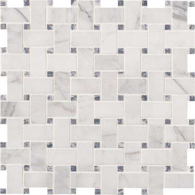 Calacatta Cressa Basketweave 12 in x 12 in x 10 mm Honed Marble Mesh Mounted Mosaic Tile 10 sq ft case - black mosaic tile