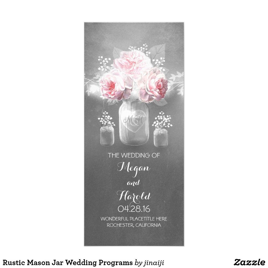 Rustic Mason Jar Wedding Programs Floral Mason Jar Weddings And Jars