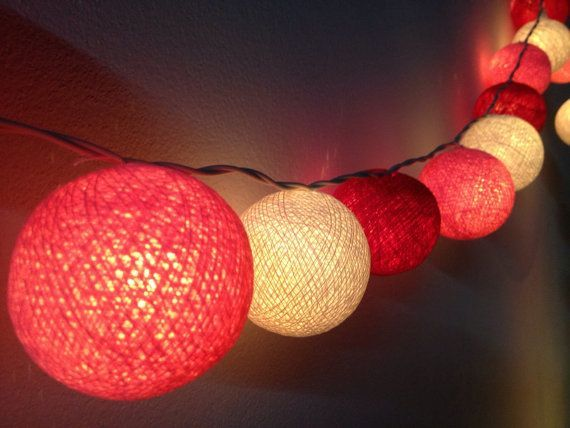 Cotton Ball String Lights For Home Decor Party Wedding Patio 20 Pieces Indoor Bedroom Fairy Pink Redtone
