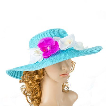 0139542aefb Tropic Beauty - Floppy Hat with Big white Peony Flower Jean Blue Bow  Kentucky Derby Race