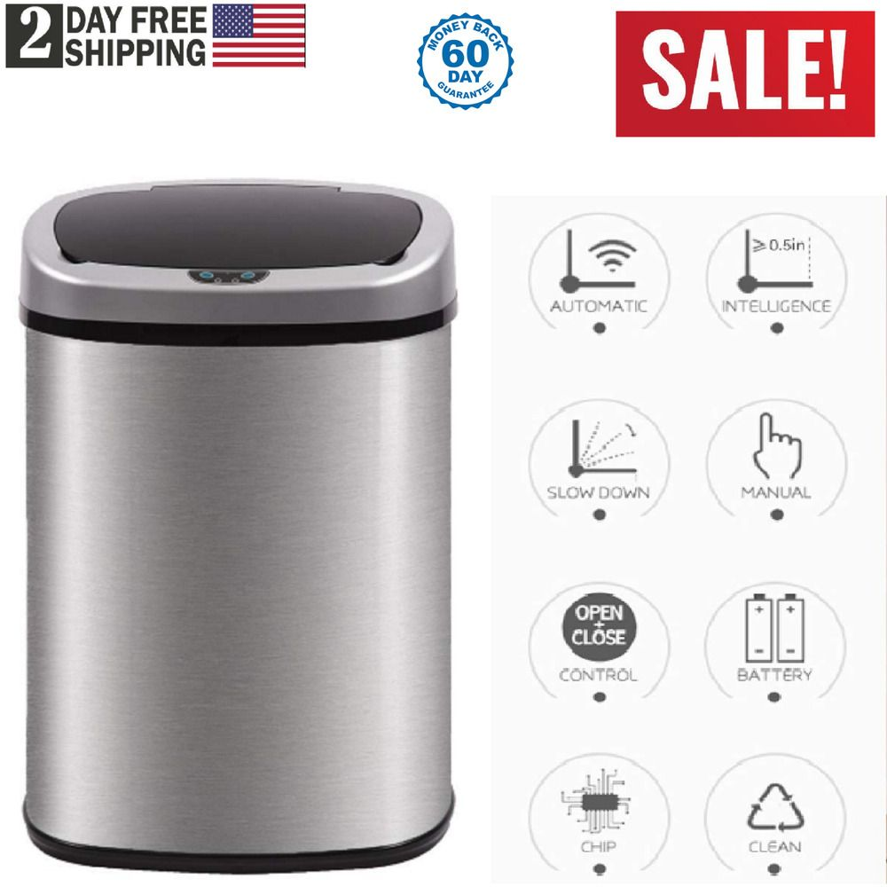 Garbage Can Garbage Can Ideas Garbage Can Garbagecan Automatic Stainless Steel Garbage Can Mo Kitchen Trash Cans Stainless Kitchen Stainless Steel Kitchen