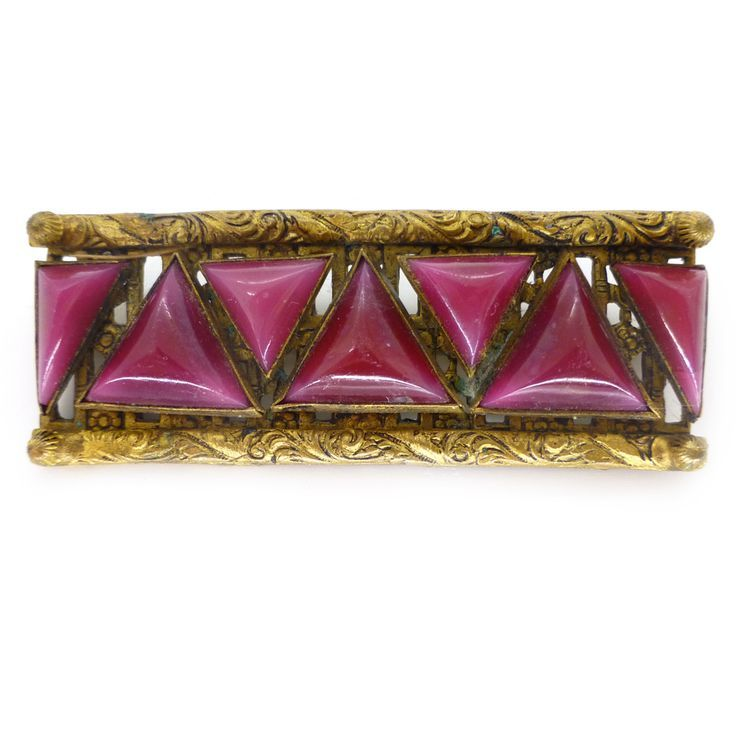 Vintage Art Deco Czech Red Triangle Glass Cabochon Brooch   Clarice Jewellery   Vintage Costume Jewellery