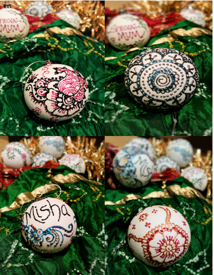 dress your christmas tree in bollywood style with these henna art customised christmas baubles
