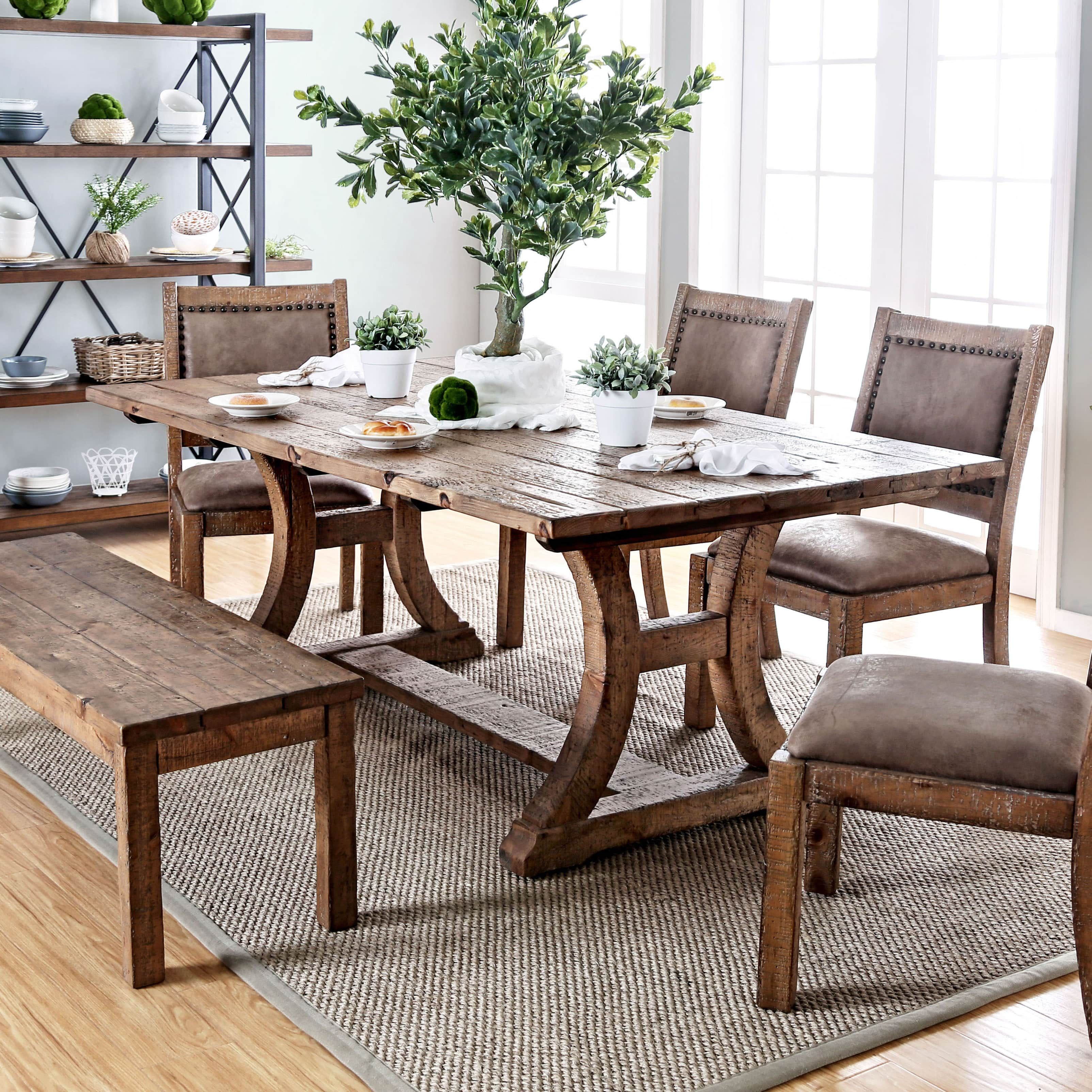 Furniture of america sail industrial pine solid wood