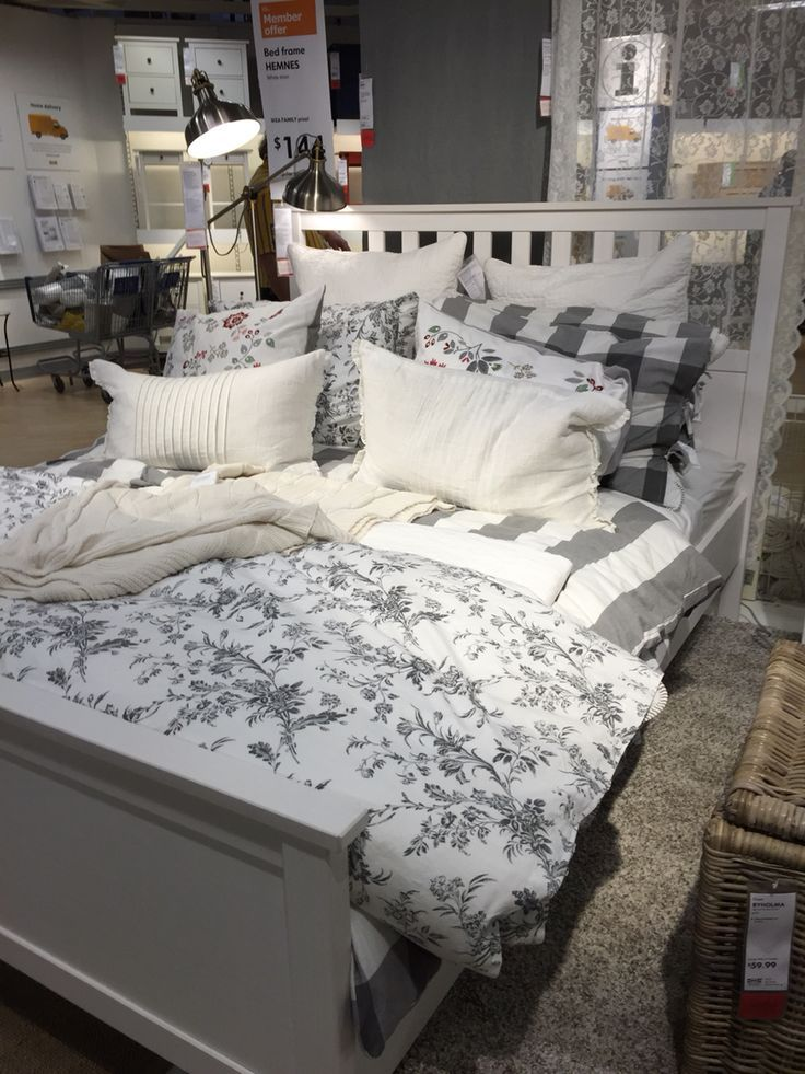 Ikea Hemnes Bed For Guest Bedroom Love The Gray And Floral Looks So Comfortable From Bed The Floral For Guestsbedroom Cozy Gray Hemnes Ikea In 2020