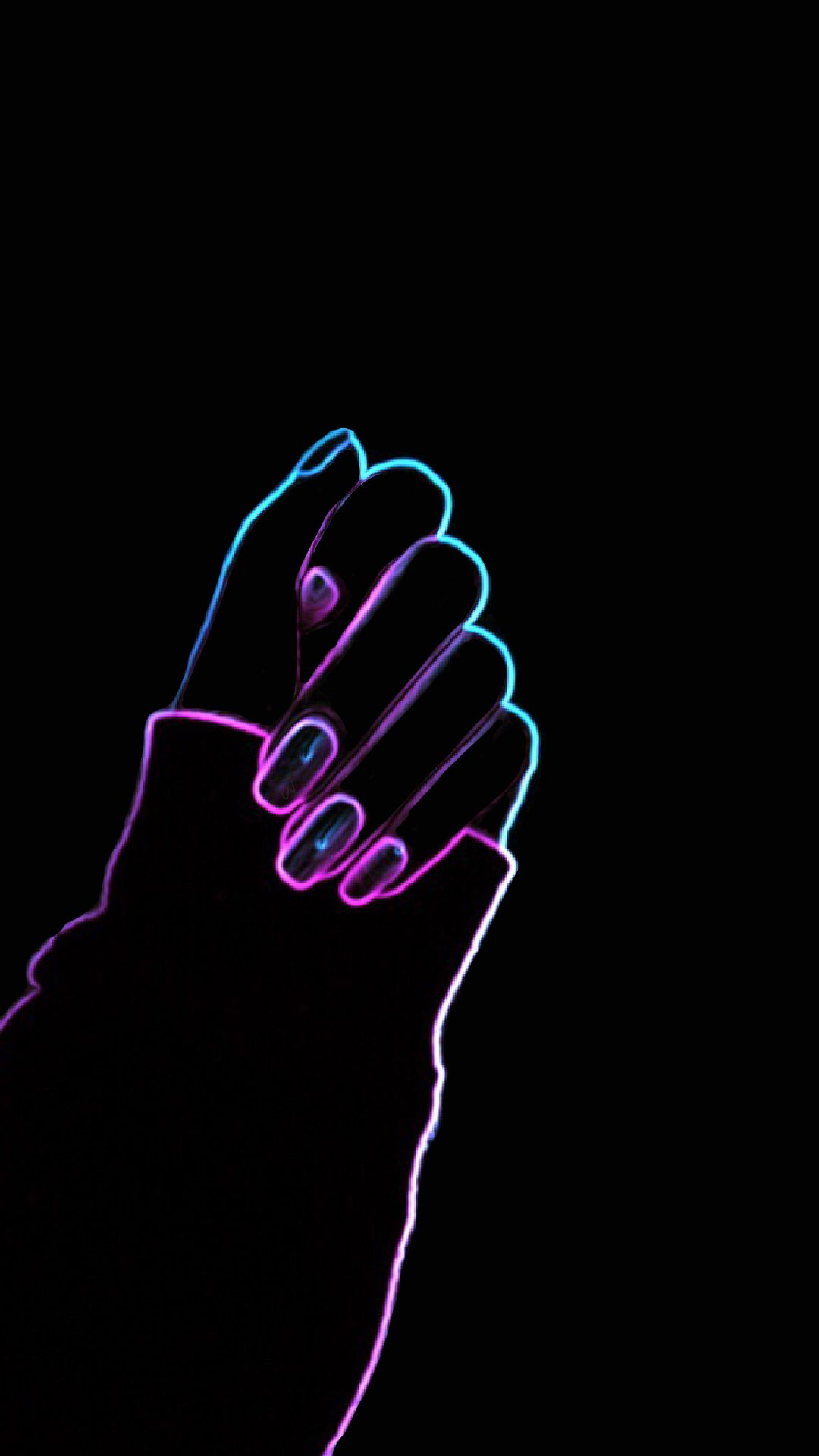 Neon Nails Wallpaper neon pink blue colourful black wallpaper