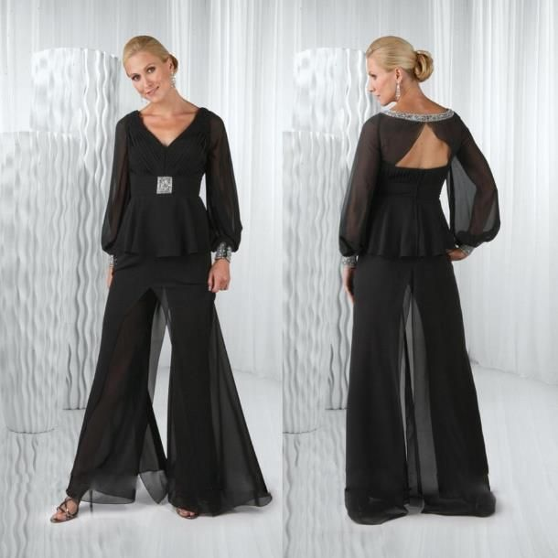 Hot Mother Of the Bride Pant Suit For Weddings Long Sleeve Evening ...