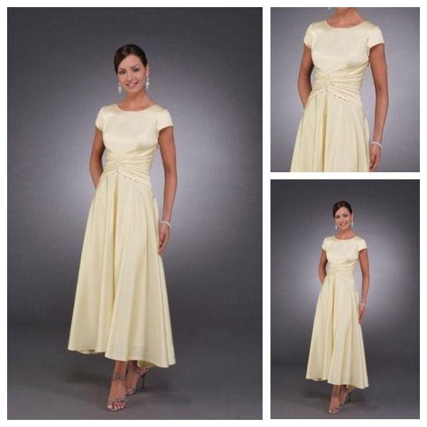 Custom Made Top Quality Custom Made Top Quality Short Sleeve Satin Casual Modest Tea Length Mother Of The Bride Dresses Trendy Wedding Dresses Mothers Dresses