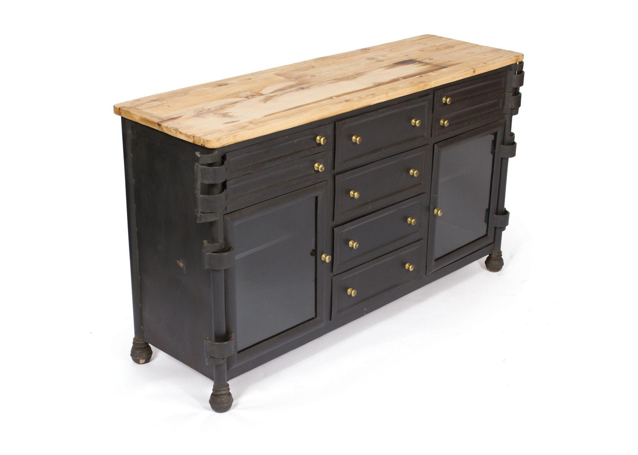 Dental Cabinet with Reclaimed Wood on Vintage Steel