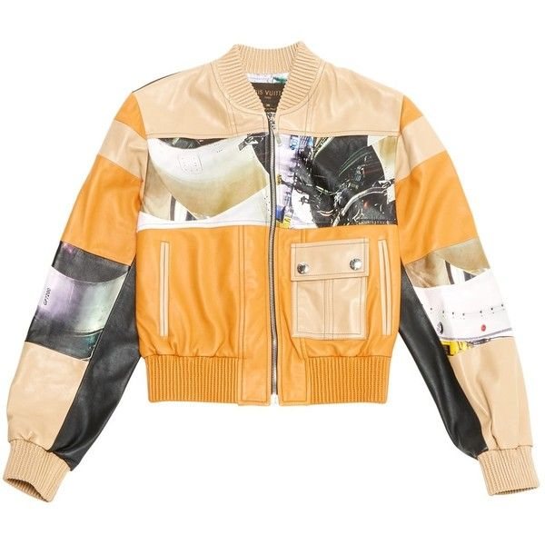 Pre Owned Louis Vuitton Leather Jacket 2 070 Liked On Polyvore Featuring Outerwear Ja Fur Collar Leather Jacket Orange Leather Jacket Real Leather Jacket