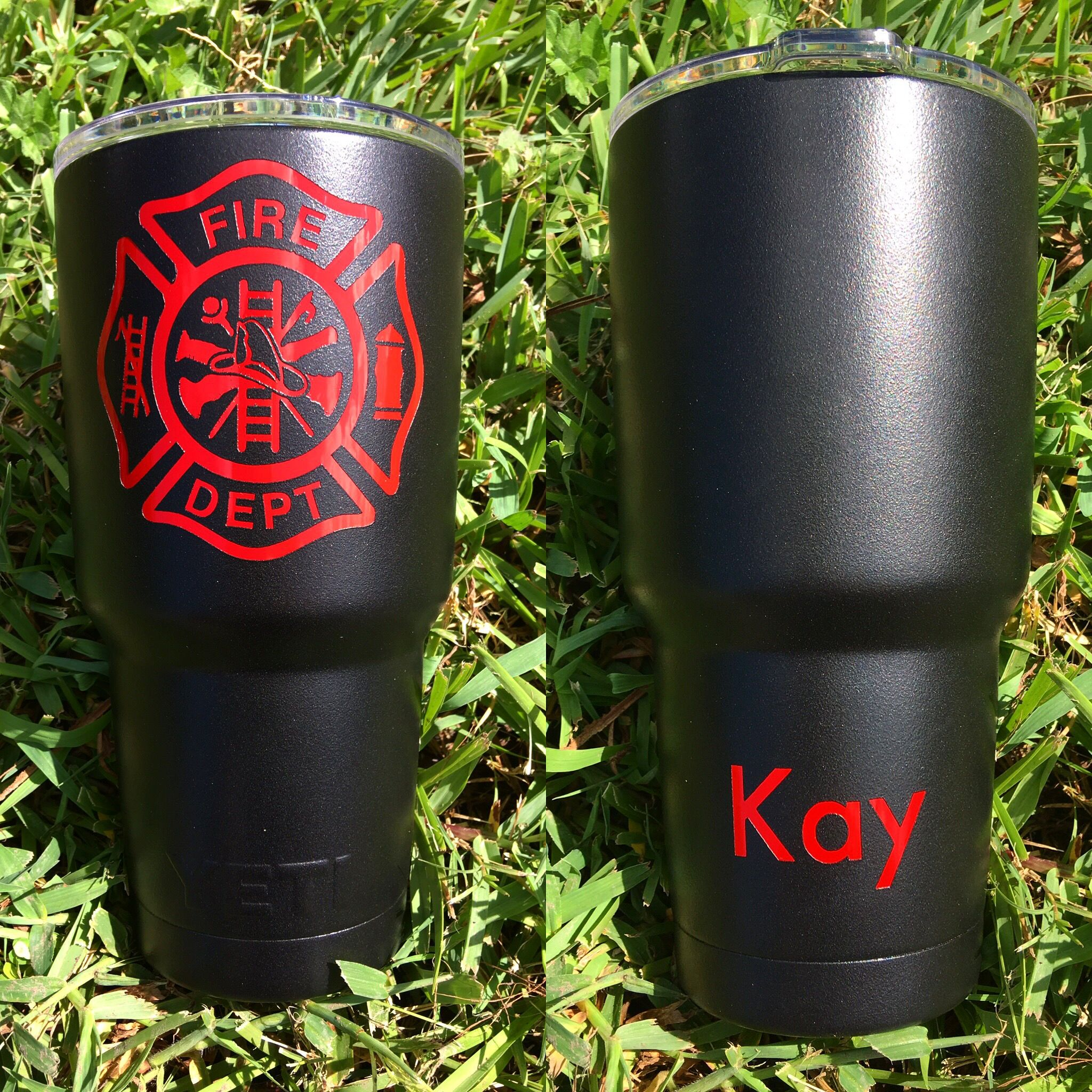 763537481ec Matte black and flame red powder coated YETI with a custom firefighter logo