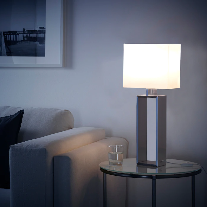 Stiltje Table Lamp With Led Bulb Off White Aluminum Color Ikea In 2020 Table Lamp Table Lamp Lighting Diy Table Lamp