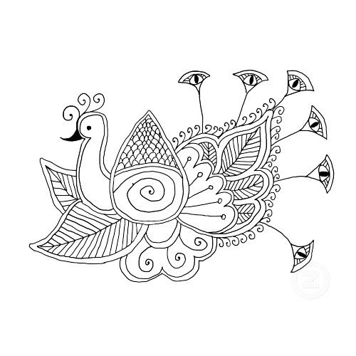 Peacock design greeting card coloring pages