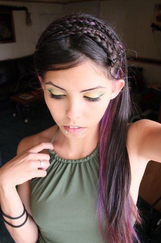 purple highlights on natural hair - Google Search | Hair Ideas ...
